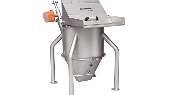 Coperion K-Tron P-Series Feed Bin with pick up wand port, vibrator and aeration pads
