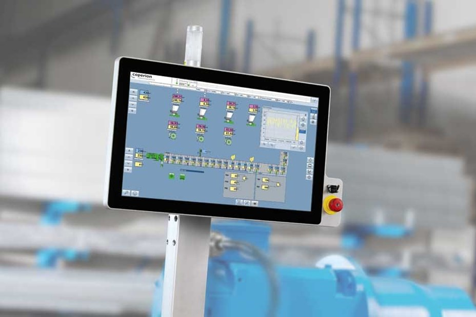 Display of Coperion's EpcNT control system for complex machines and systems