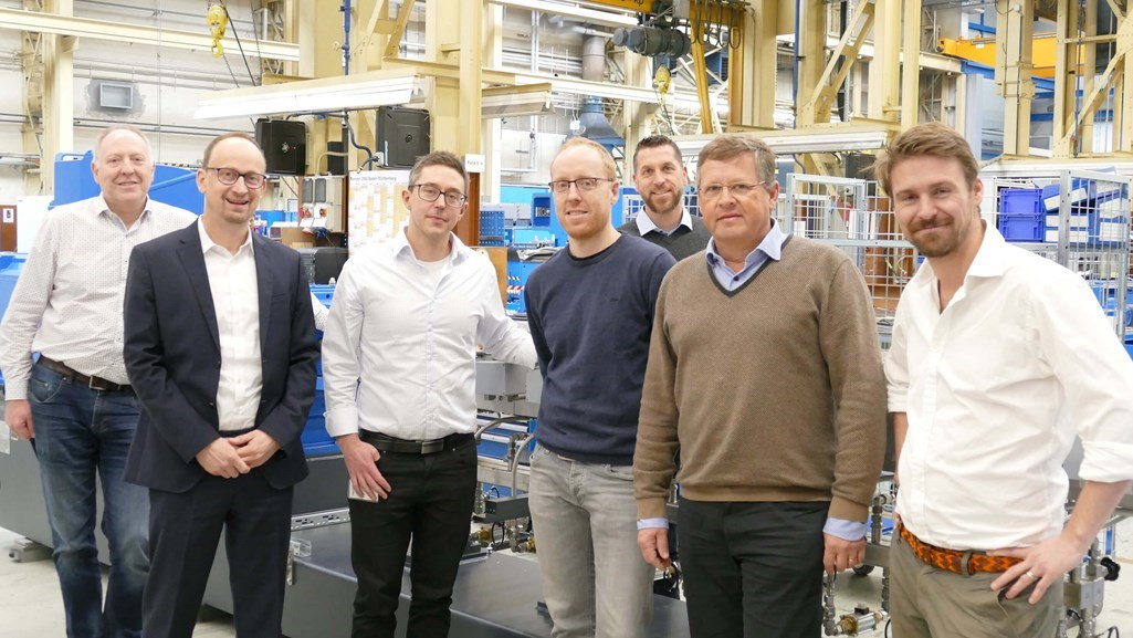 Coperion and RenCom team during project kick-off meeting in Stuttgart, Germany (from left to right: David Watmore, Peter von Hoffmann (both Coperion), Johan Verendel, RenCom, Stefan Hirsch, Levin Batschauer, Jörg Prochaska (all Coperion), Christopher Carrick (RenCom)